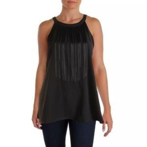 Alfani Woman's Black Sleeveless Fringe Top Size 16